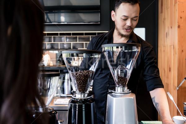 小さな バリスタ コーヒー 新鮮な 豆 ストックフォト © Kzenon