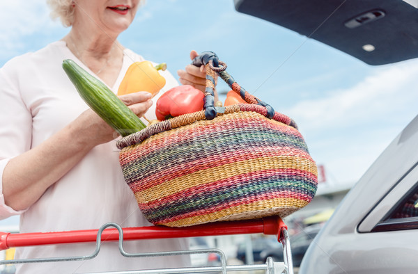 Cheerful senior woman holding a basket full of fresh vegetables  Stock photo © Kzenon