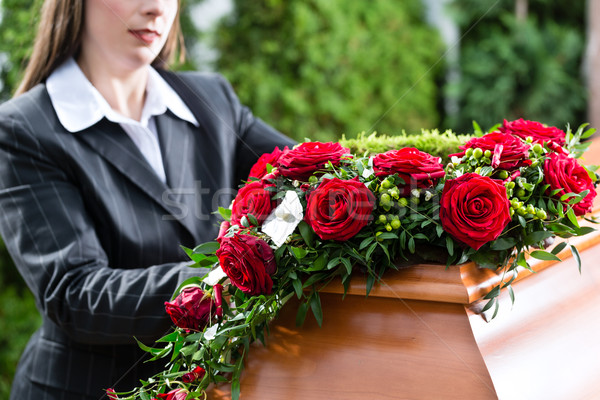 Mourning Woman at Funeral with coffin Stock photo © Kzenon