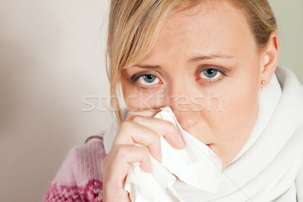 Woman having a cold or flu Stock photo © Kzenon