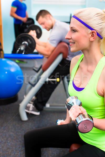 Mulher ginásio treinamento mudo fitness casal Foto stock © Kzenon