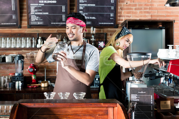 Stockfoto: Vrouw · man · asian · cafe · koffie · vers