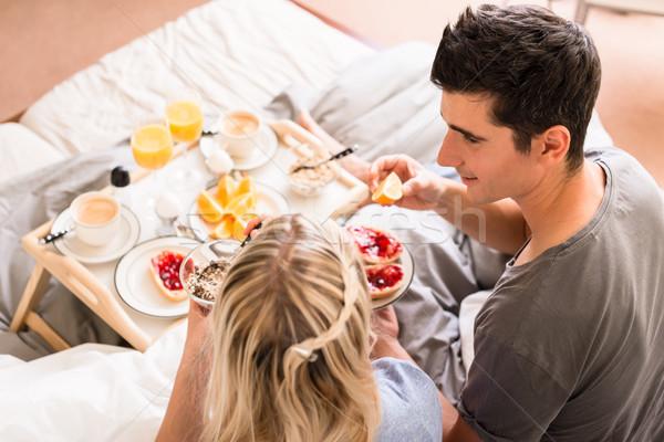 Romantische ontbijt sinaasappelsap koffie gezonde Stockfoto © Kzenon