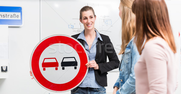 Learner in driving lessons theory explaining traffic situation Stock photo © Kzenon