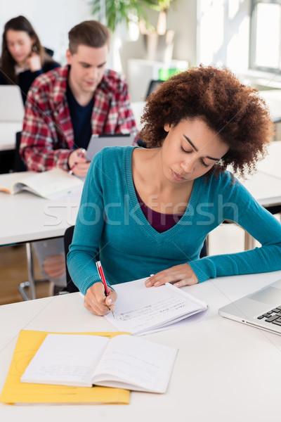 портрет афроамериканец студент улыбаясь уверенность глядя Сток-фото © Kzenon