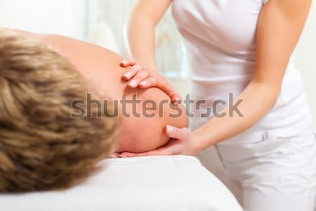 Photo stock: Patient · physiothérapie · massage · femme · homme · sport