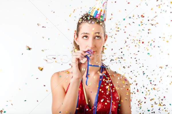 Nő unalmas születésnapi buli kevesebb mosoly buli Stock fotó © Kzenon