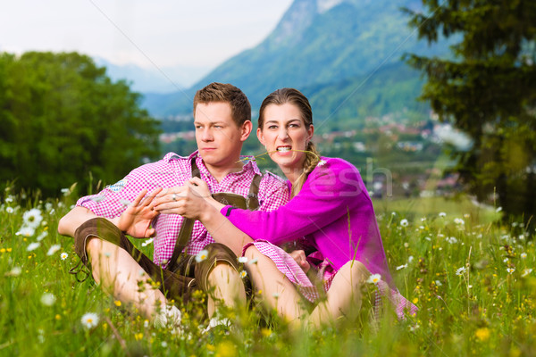Couple with issues in Alpine meadow Stock photo © Kzenon