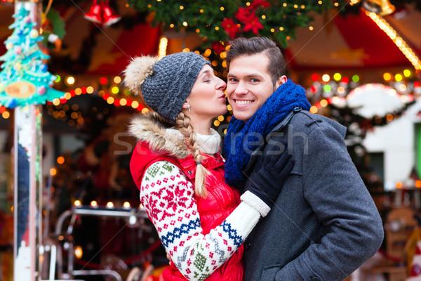 Couple on traditional Christmas market  Stock photo © Kzenon