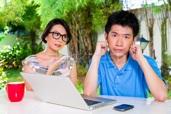 Chinese mother and Asian Son at home Stock photo © Kzenon