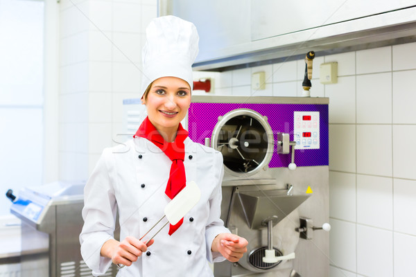 Chef preparing ice cream with machine Stock photo © Kzenon