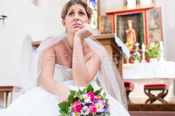 Bride waiting alone for wedding being frustrated Stock photo © Kzenon