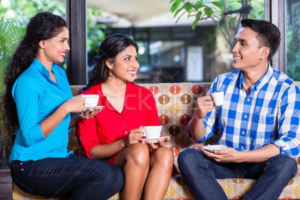 группа индийской кафе кофе говорить женщину Сток-фото © Kzenon