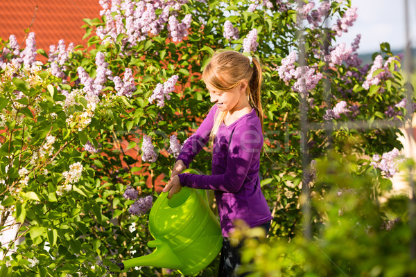 Boldog gyermek locsol virágok kert otthon Stock fotó © Kzenon