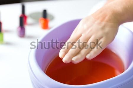 Stock fotó: Nő · manikűrös · fürdőkád · manikűr · fürdik · kezek