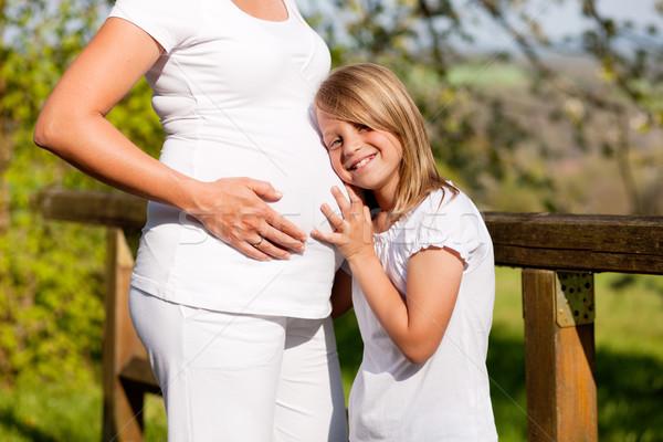 Terhesség lány megérint has terhes anya Stock fotó © Kzenon