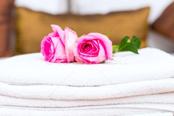 Foto stock: Flores · bem-vindo · convidado · quarto · de · hotel
