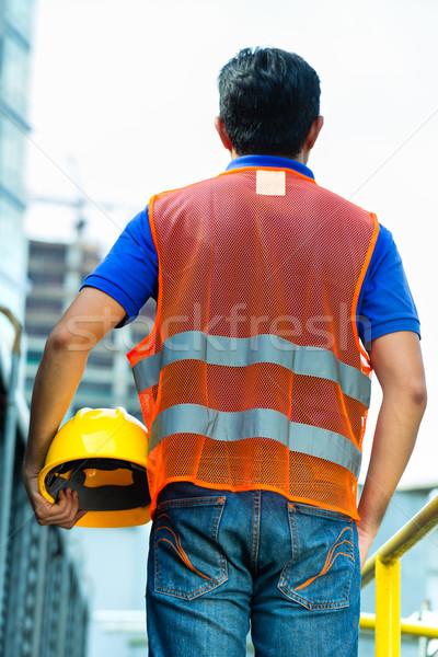 Asian indonezyjski pracownik budowlany budynku kask Zdjęcia stock © Kzenon