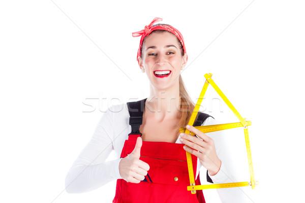 Woman having fun at home improvement  Stock photo © Kzenon