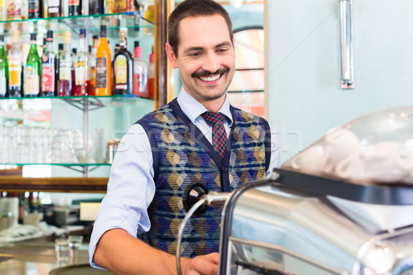 Barista preparing coffee or espresso in cafe bar Stock photo © Kzenon