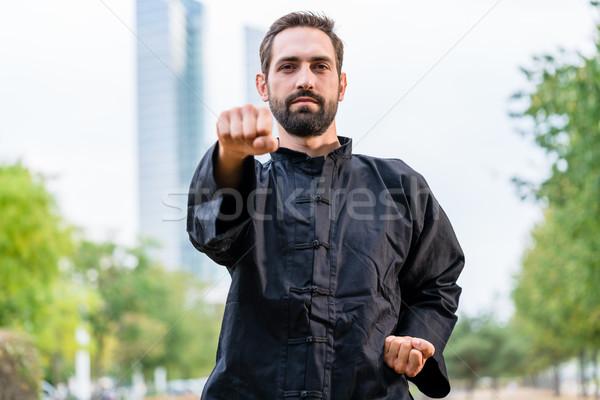 Martial arts sportsman practicing karate in city Stock photo © Kzenon