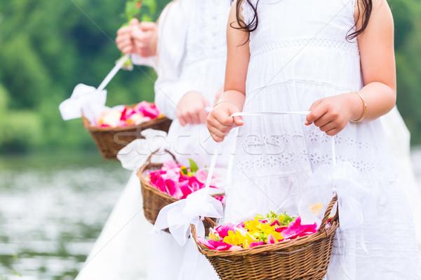 Esküvő gyerekek virág kosár pár menyasszony Stock fotó © Kzenon