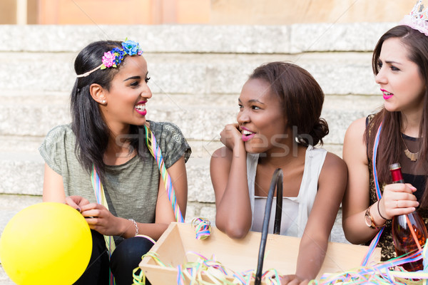Stock photo: Girls celebrating together on bachelorette party