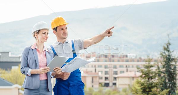 Stockfoto: Architect · bouwer · ontwikkelen · ideeën · bouw · project