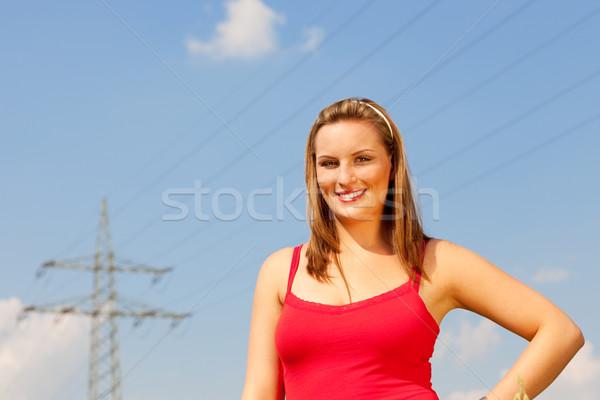 Donna piedi potere polo rosso tshirt Foto d'archivio © Kzenon