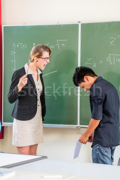 Teacher criticizing a pupil in school class Stock photo © Kzenon
