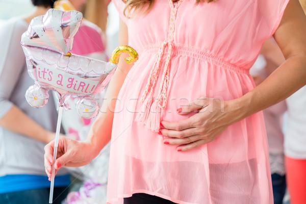 Ciąży dziewczyna baby prysznic strony Zdjęcia stock © Kzenon