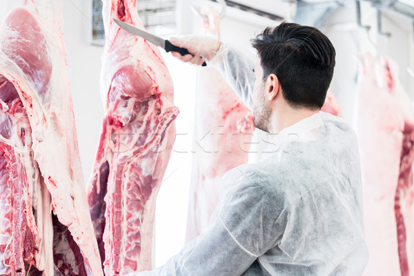 Butcher in butchery or slaughterhouse cutting meat Stock photo © Kzenon