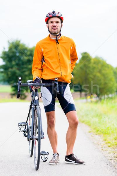 スポーツ サイクリスト 自転車 ブレーク 草 道路 ストックフォト © Kzenon