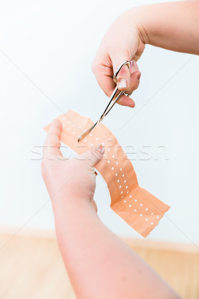 In First aid class, Cutting of patch for smaller lesions Stock photo © Kzenon