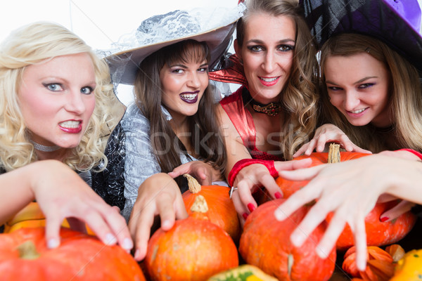 Portrait of four young and beautiful women looking at camera whi Stock photo © Kzenon