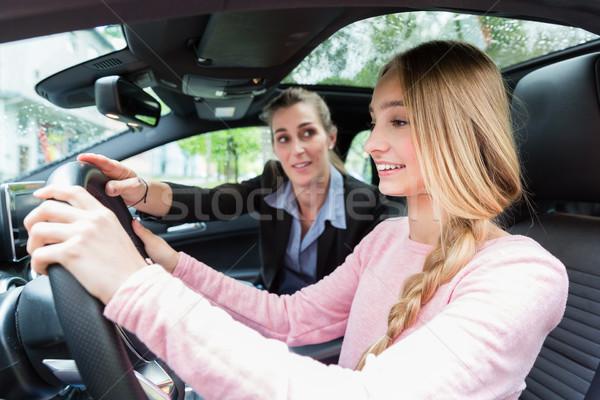 Diák kerék autó vezetés lecke tanár Stock fotó © Kzenon