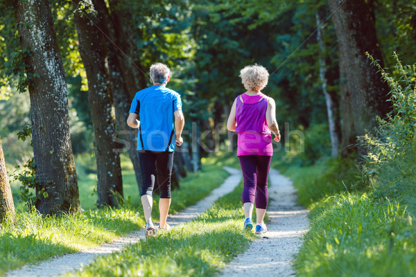 Full length rear view of a senior couple jogging together outdoors Stock photo © Kzenon