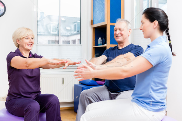 Elderly couple at physiotherapy on gymnastic balls Stock photo © Kzenon