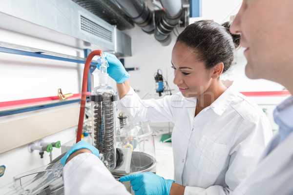 Researchers preparing test in scientific laboratory Stock photo © Kzenon