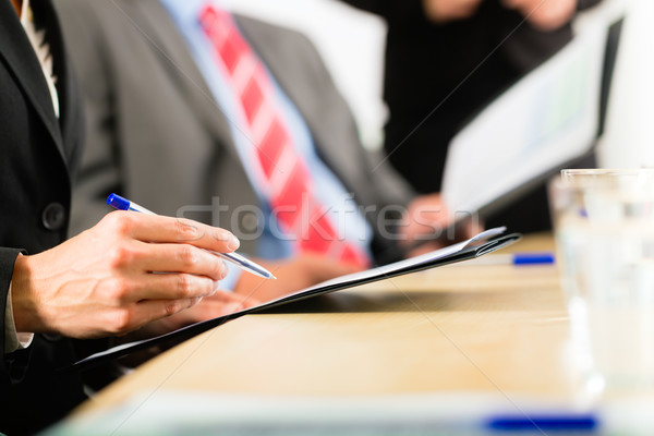 Business - businesspeople, meeting and presentation in office Stock photo © Kzenon