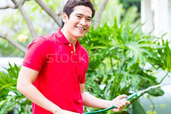 Stock photo: Asian man watering plants with garden hose