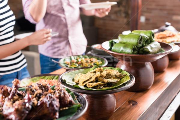 люди продовольствие индонезийский буфет ресторан Сток-фото © Kzenon