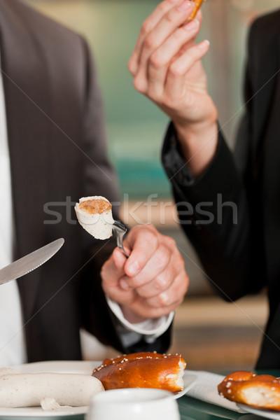 пару завтрак традиционный ресторан быстрого питания белый Сток-фото © Kzenon