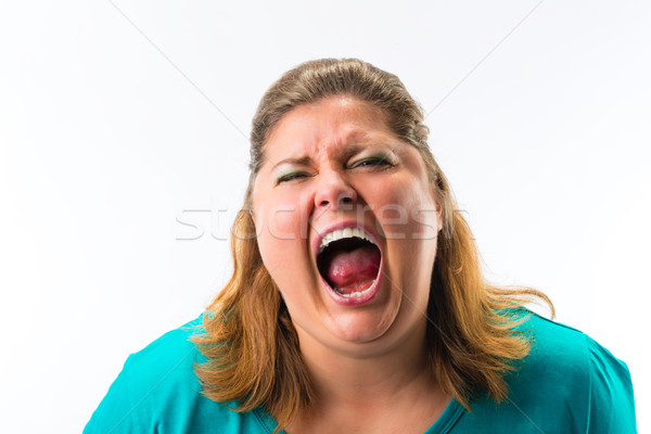 Woman screaming loud Stock photo © Kzenon
