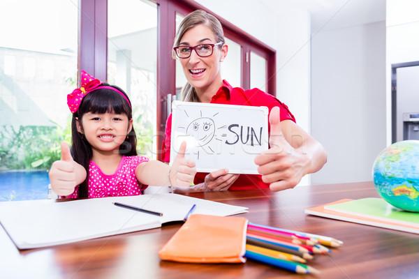 Foto stock: Professor · linguagem · chinês · criança · inglês