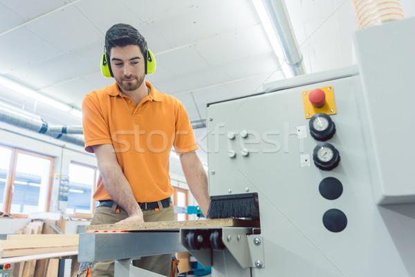 ács dolgozik bútor gyár gép számítógép Stock fotó © Kzenon
