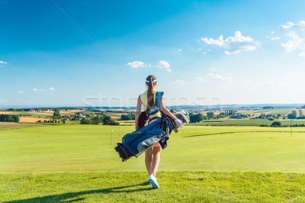 вид сзади активный женщину синий Сток-фото © Kzenon