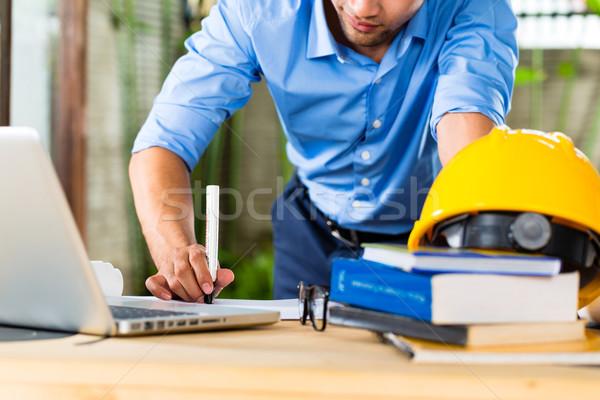 Architect werken home freelancer ontwerp bureau Stockfoto © Kzenon