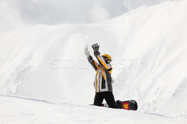 Snowbordos hó tél vár férfi sport Stock fotó © Kzenon