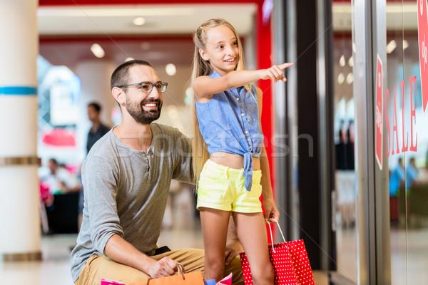 Familie Laden Fenster Mall Warenkorb Laden Stock foto © Kzenon
